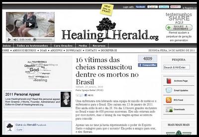site Notícias sobre ressurreições em Teresópolis repercutem no exterior